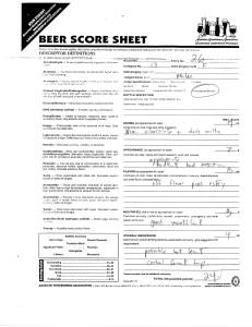 Homebrew contest score sheet